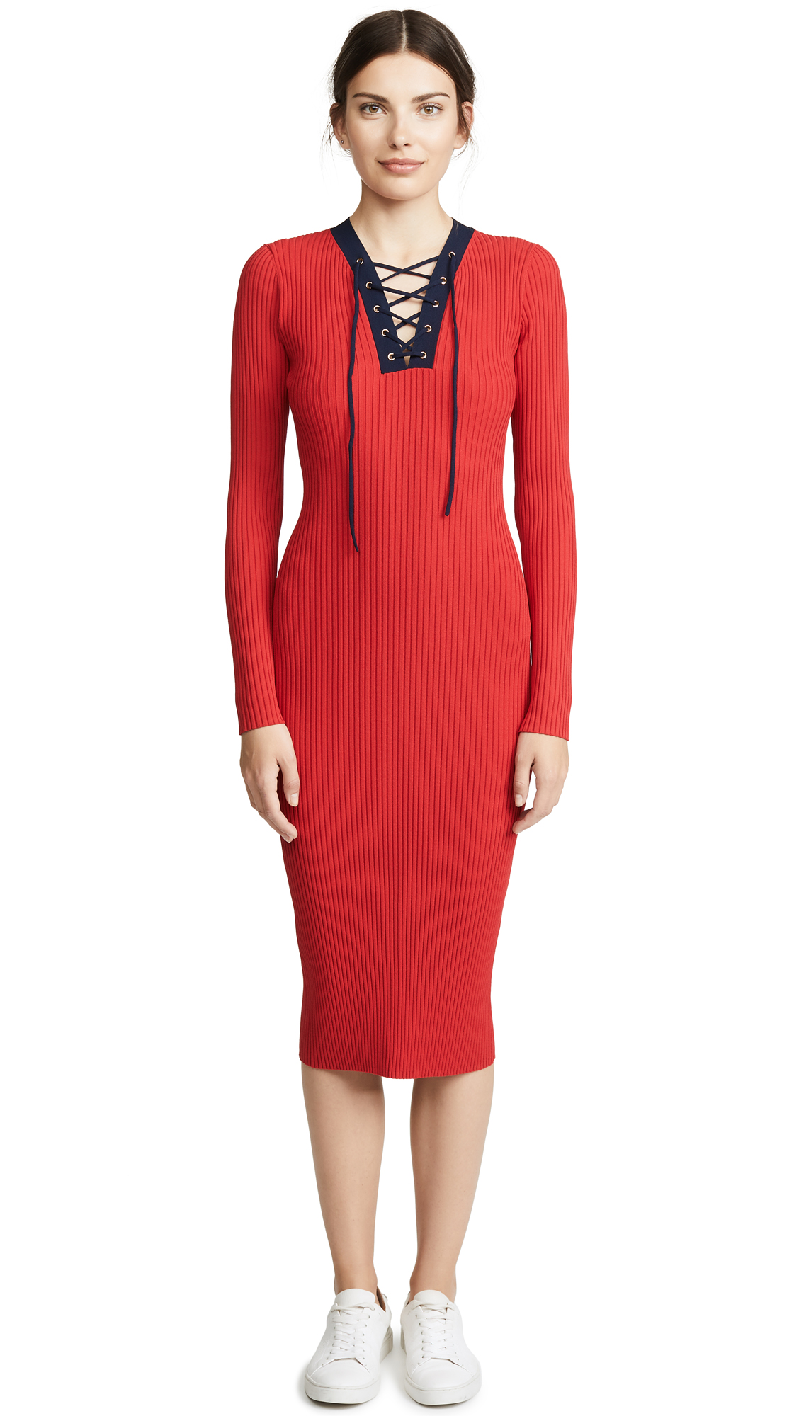 Lace Up Sweater Dress, Cherry/New Navy