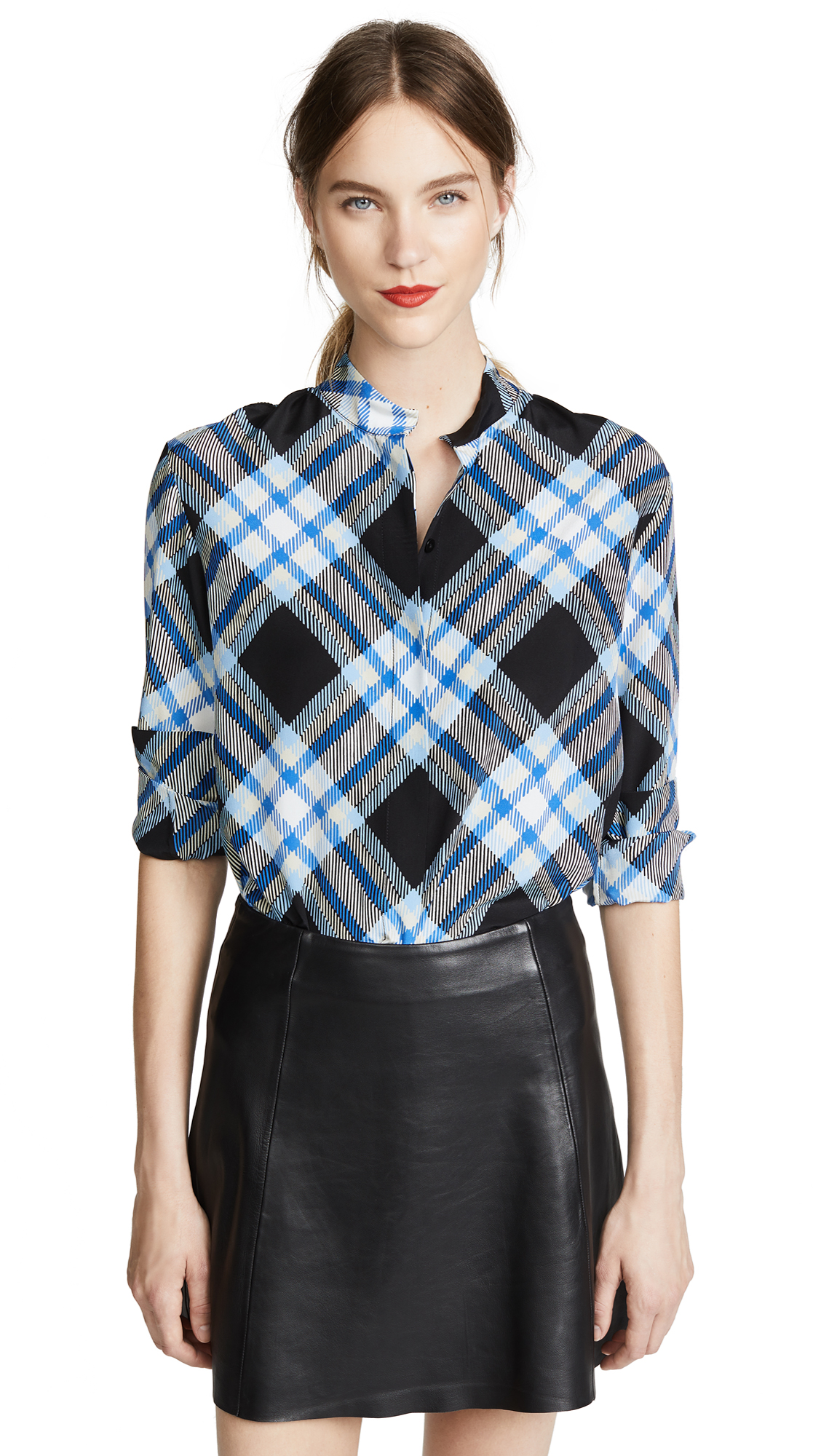 Sutton Check Printed Blouse in Blue