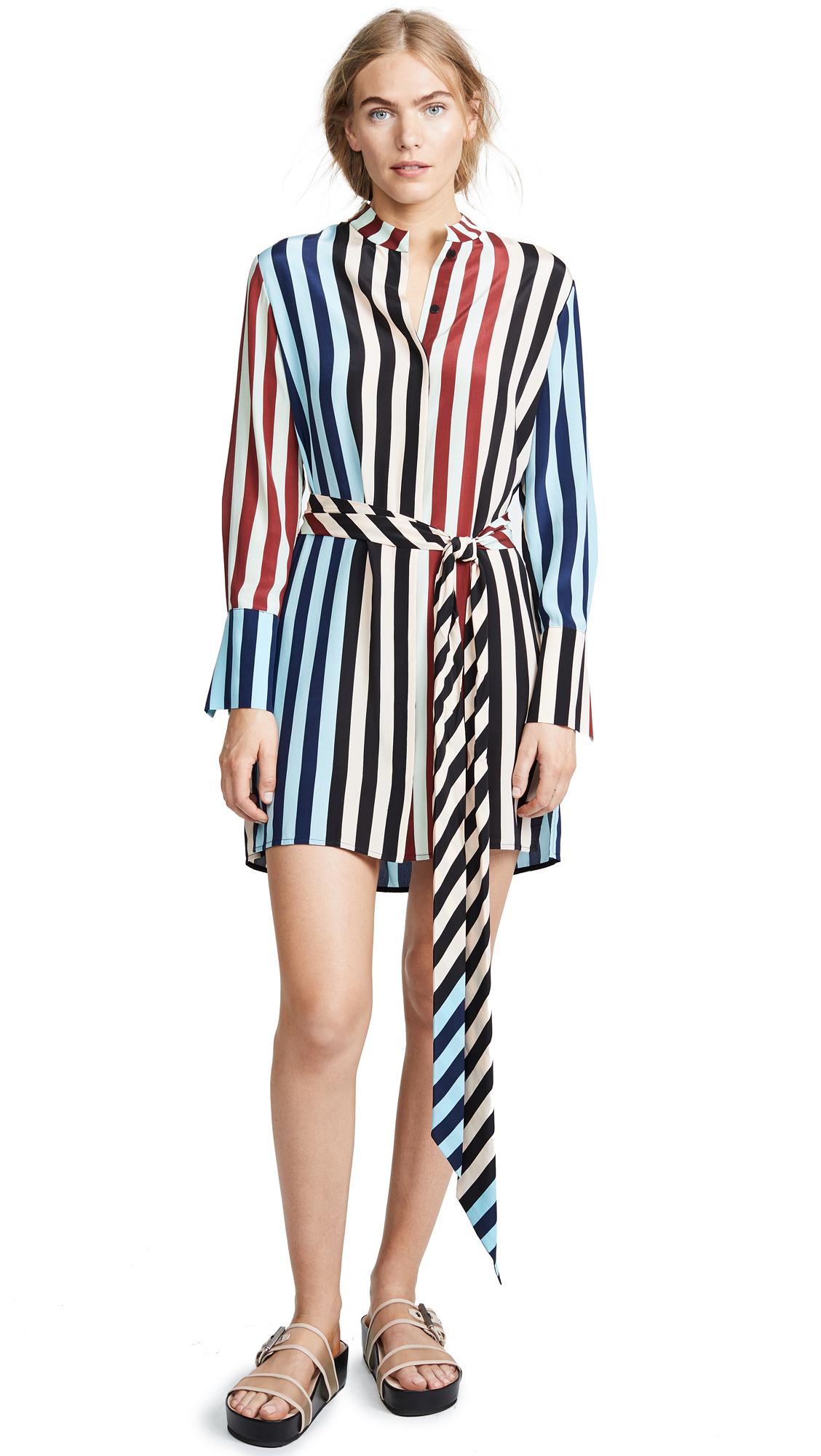 Diane von Furstenberg Striped Shirt Dress In Multi Stripe