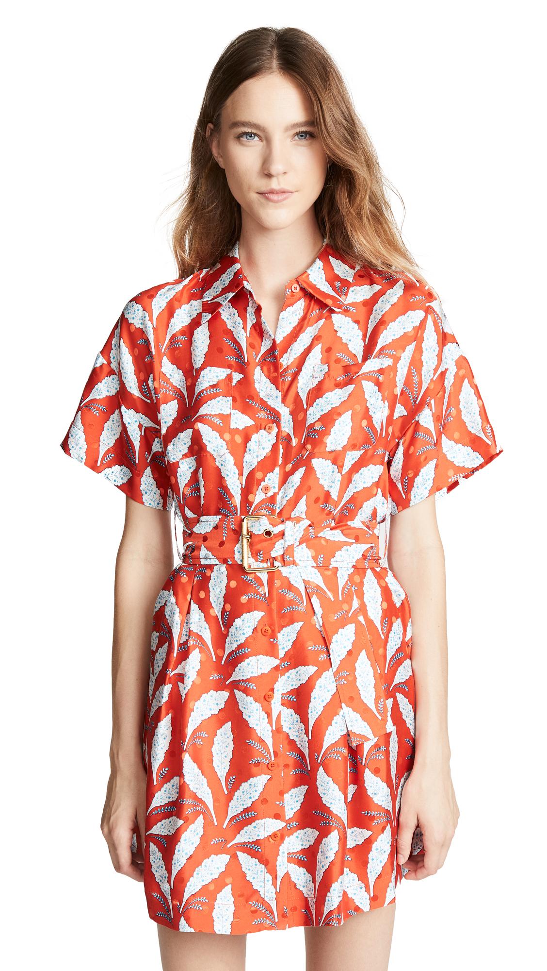 Diane von Furstenberg Button Up Shirt Dress In Mason Vermillion