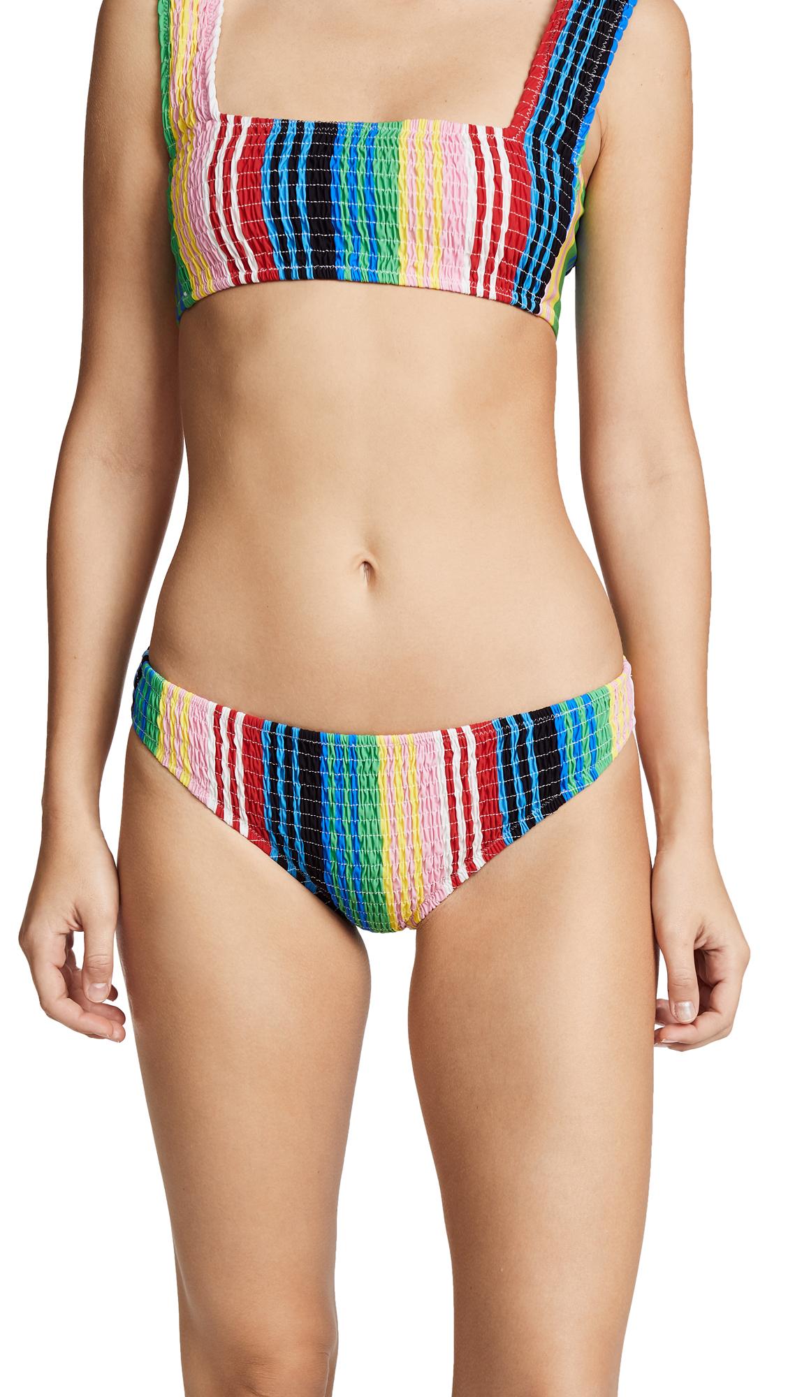 Diane von Furstenberg Smocked Cheeky Bikini Bottoms In Barnett Stripe Ivory Multi