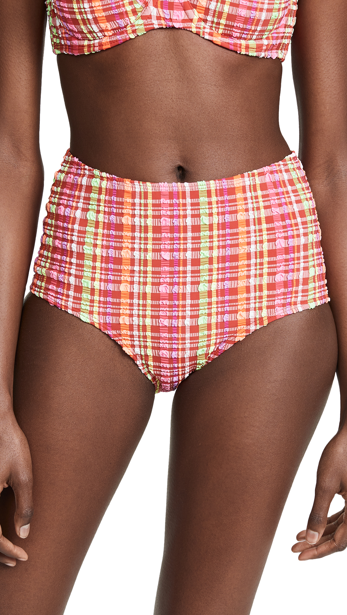 Diane von Furstenberg High-Waisted Bikini Bottoms In Red Multi