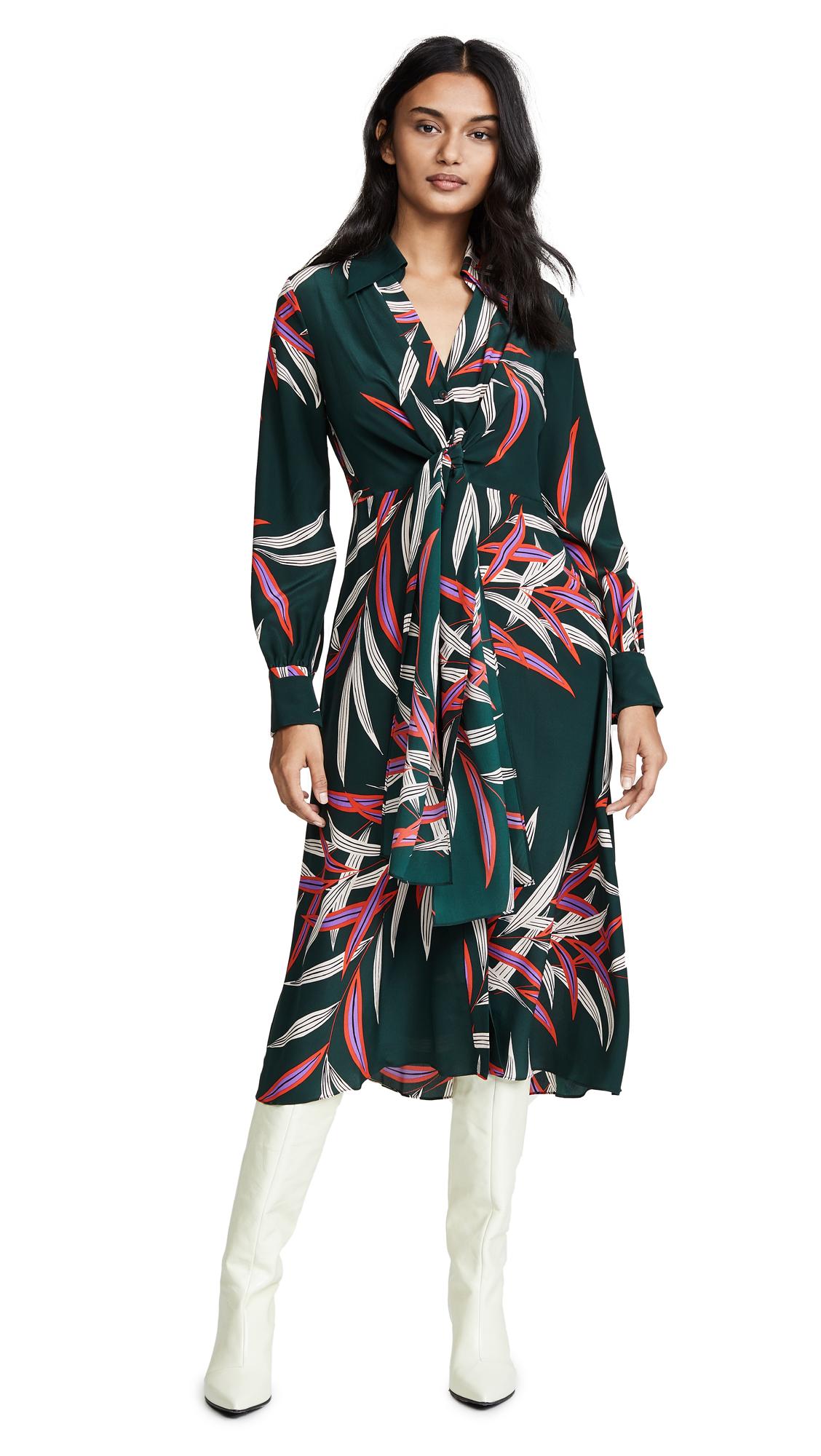 Diane von Furstenberg Deep V Front Tie Dress