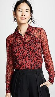 Diane von Furstenberg Шифоновая блуза с длинными рукавами