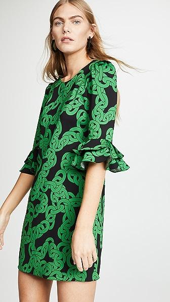 75939cc4d77 Diane Von Furstenberg Lousie Stretch-Viscose Printed Bell-Sleeve Dress In  Crawling Chain Malachite