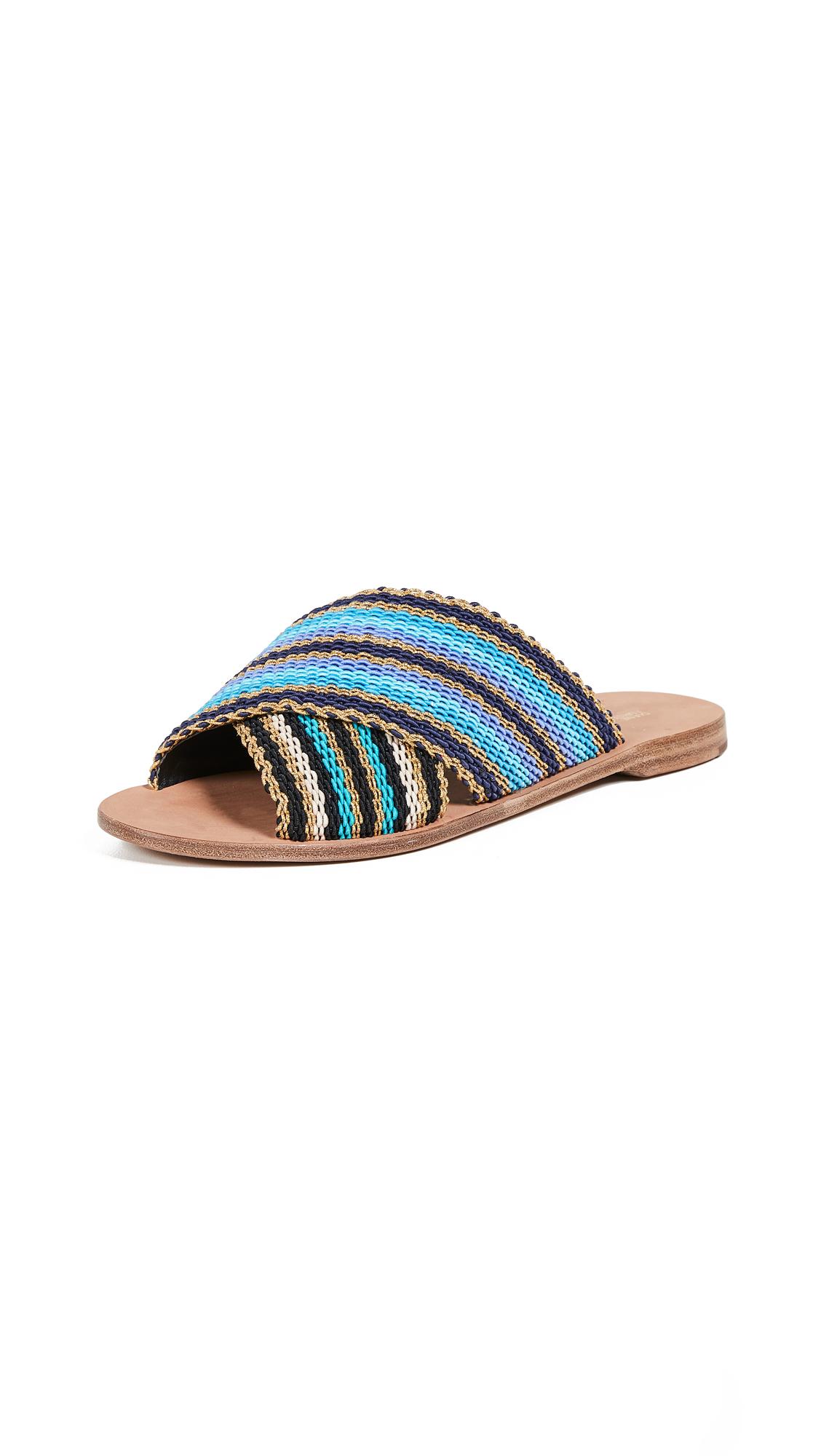 Diane von Furstenberg Cindi Slide Sandals - Blue Multi