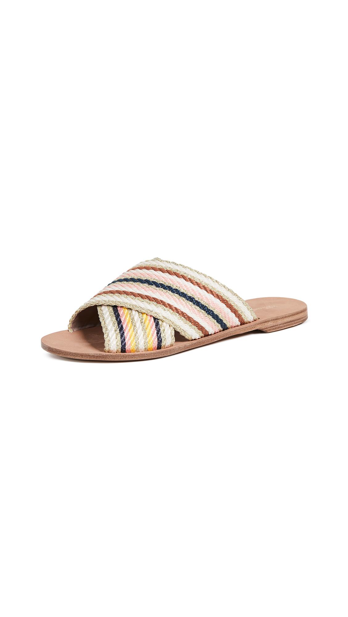 Diane von Furstenberg Cindi Slide Sandals - Ivory Multi