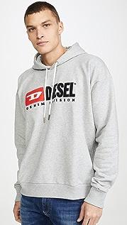 Diesel Long Sleeve S-DIVISION Logo Hooded Sweatshirt
