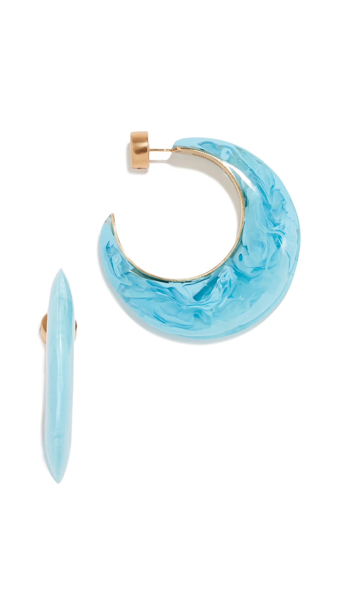 DINOSAUR DESIGNS Marbled And Metal Medium Hoop Earrings in Powder Blue