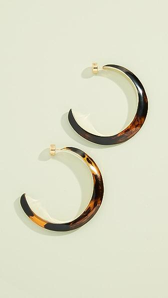 DINOSAUR DESIGNS Stone And Metal Large Hoop Earrings in Tortoiseshell