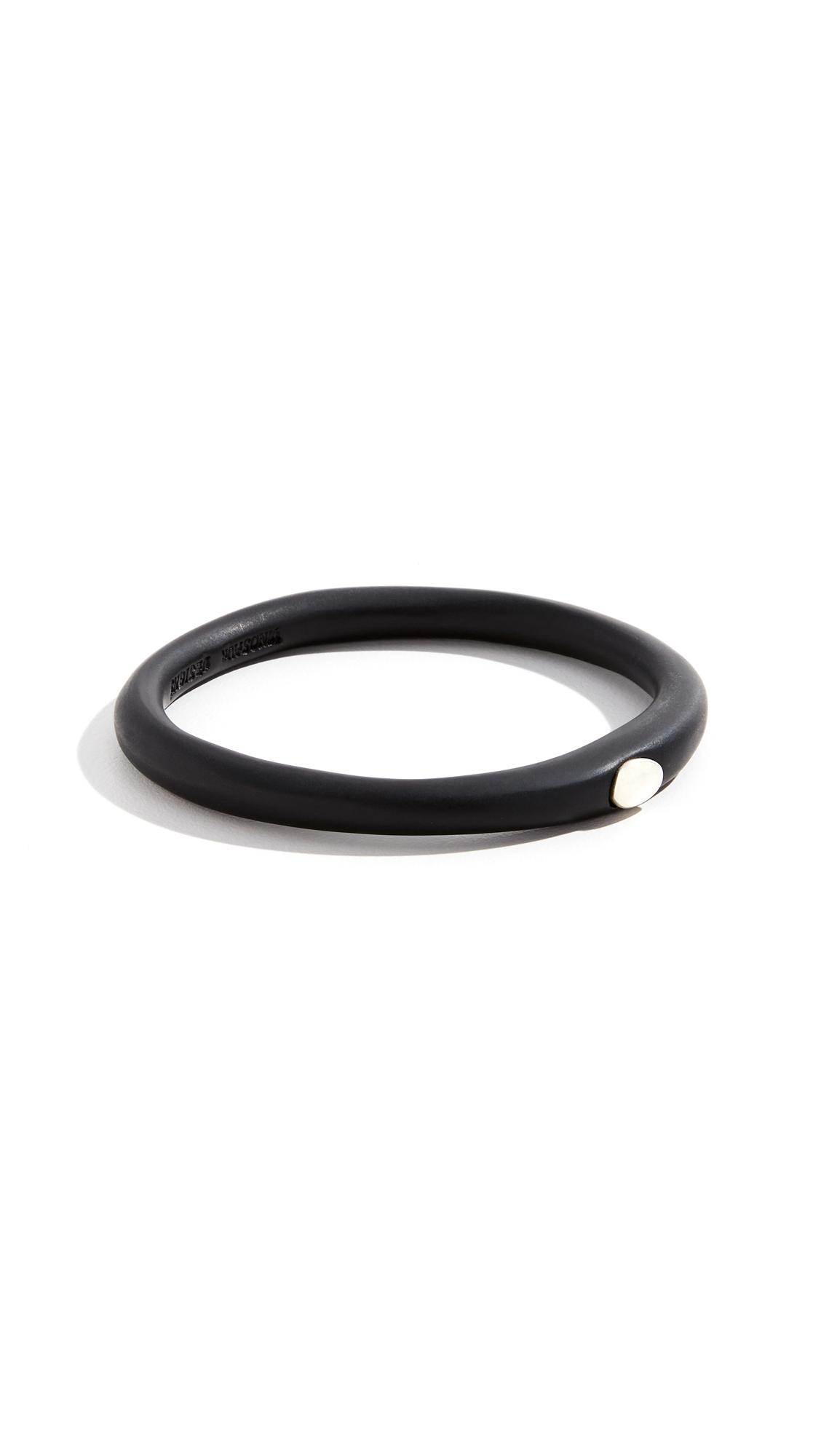 Dinosaur Designs Round Rock Wishbone Bangle In Black