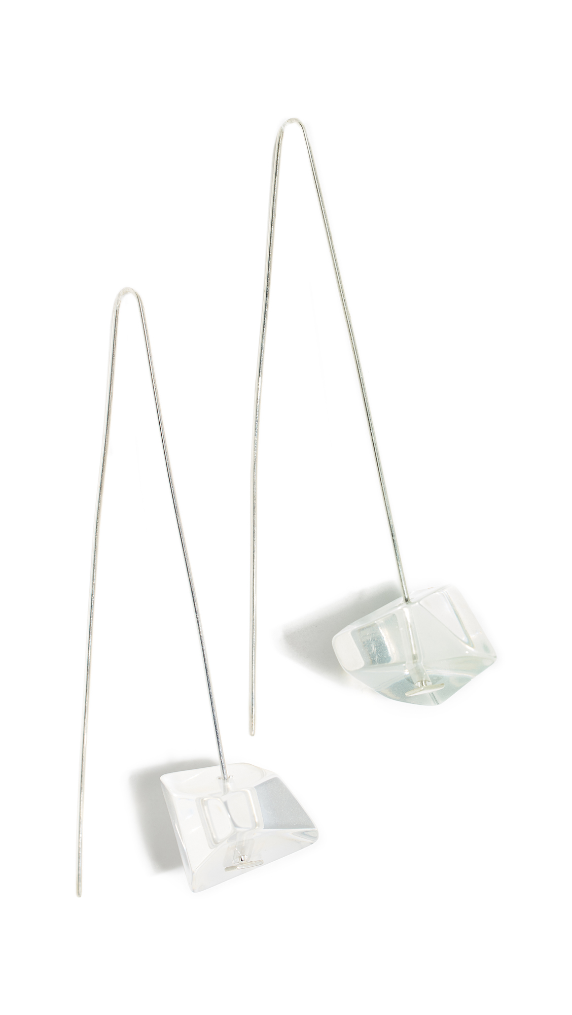 DINOSAUR DESIGNS Crystallized Long Drop Earrings in Clear