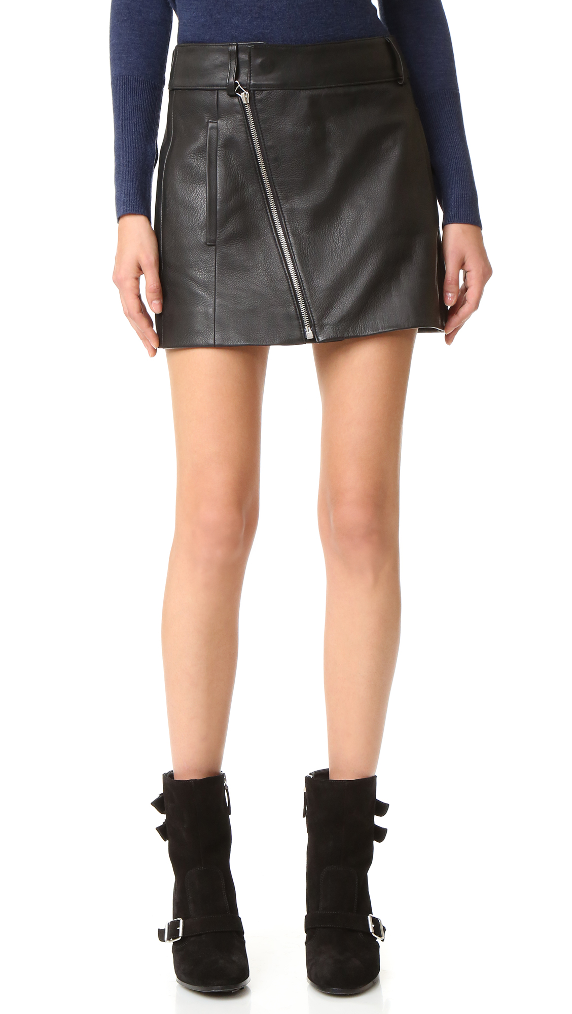 Description NOTE: Sizes listed are Australian. Please see Size & Fit tab. Pebbled leather brings tough edge to this Dion Lee miniskirt. Exposed, diagonal zip. On seam pockets. Lined. Fabric: Leather. Shell: 100% cowhide. Lining: 100% cupro. Leather clean.