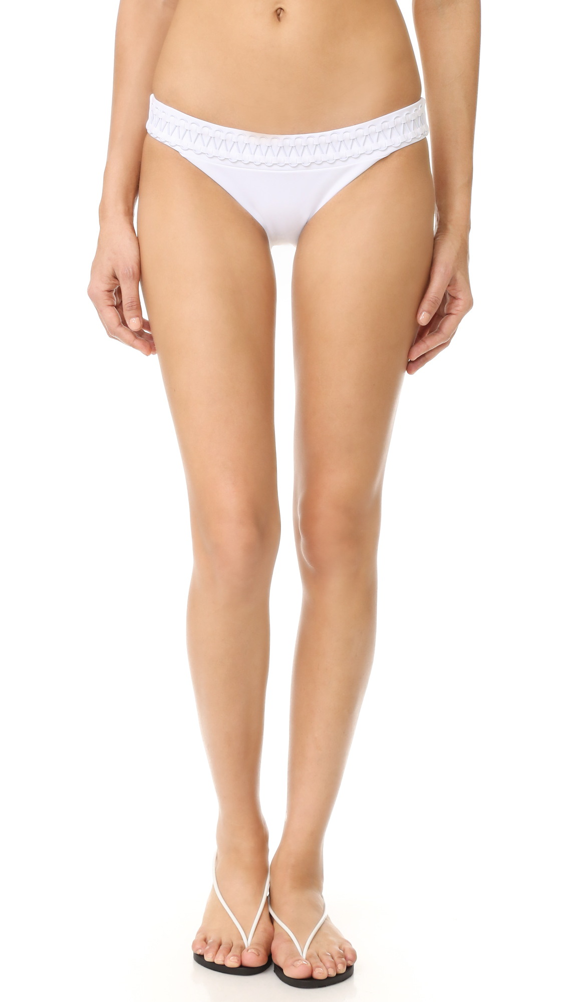 Dion Lee Laced Coil Bikini Bottoms In White