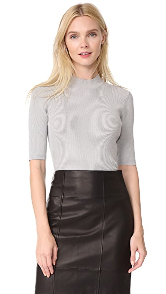 Dion Lee Pinacle Rib Cropped Tee - Grey Marle