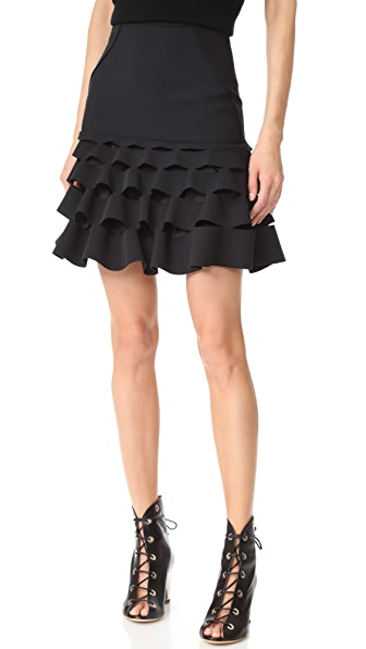 Dion Lee Slash Ruffle Miniskirt - Black