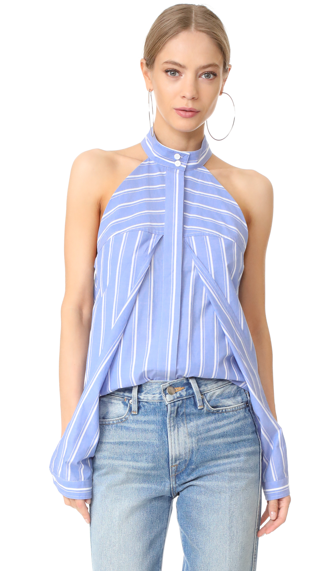 Dion Lee Sleeve Release Shirt - Blue Stripe