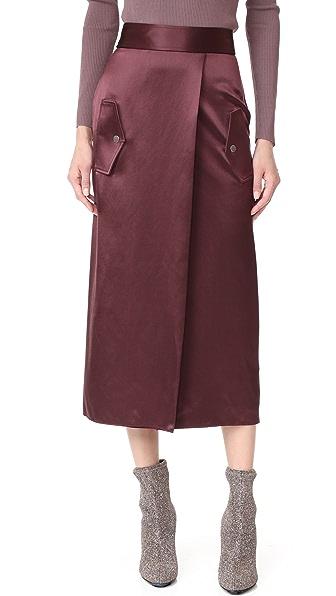 Dion Lee Utility Silk Skirt In Wine