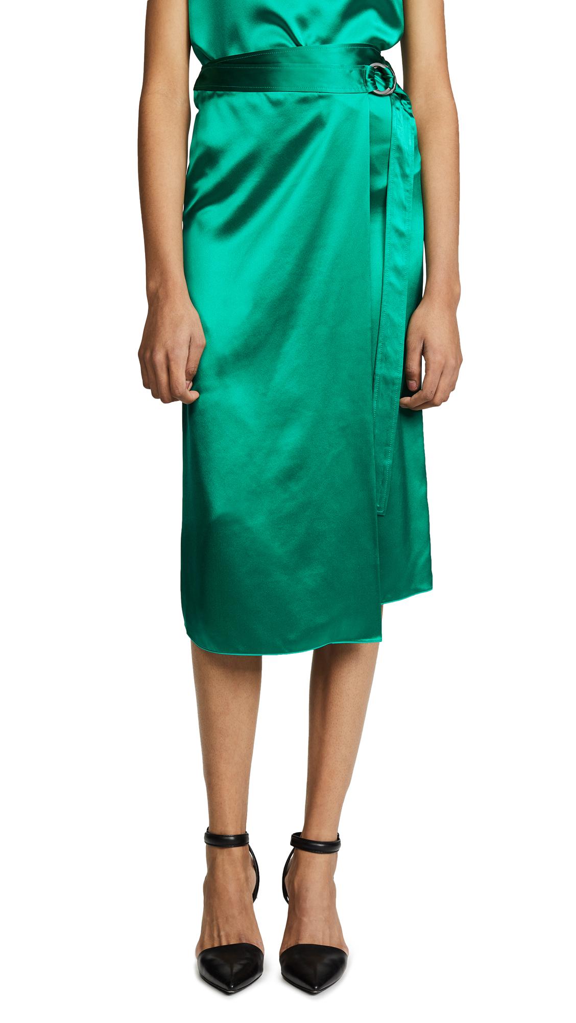 Dion Lee Silk Satin Tie Skirt - Primary Green