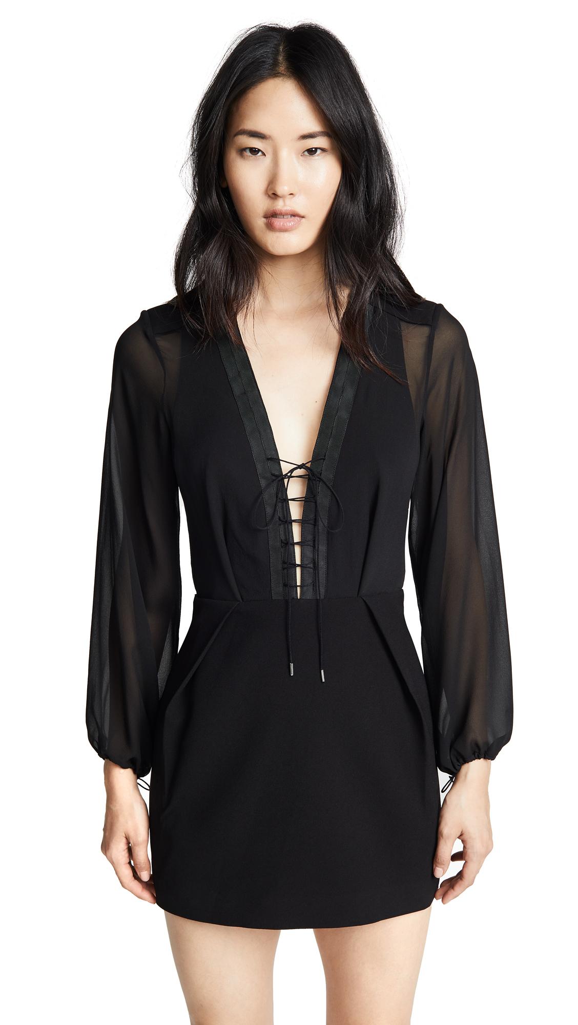 Dion Lee Sheer Solid Lacing Dress In Black