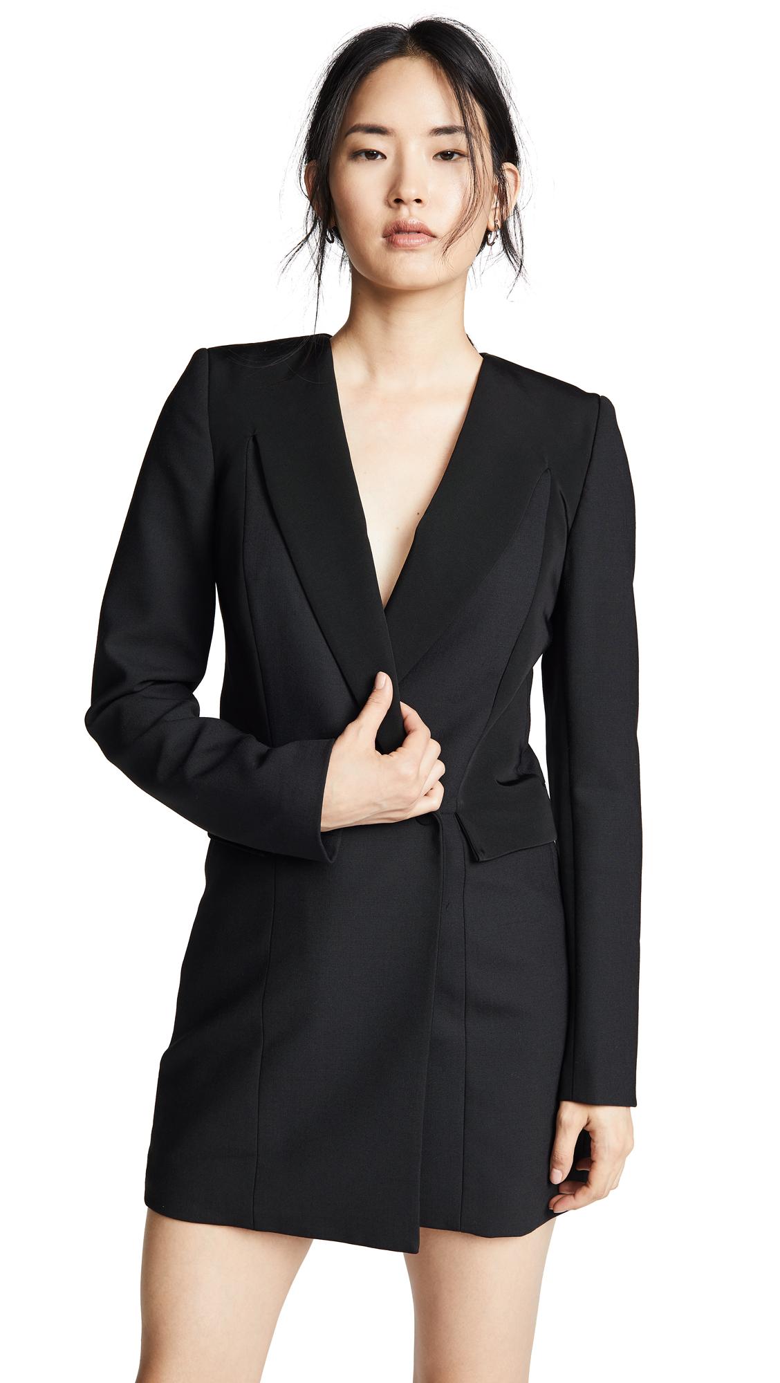 Tuxedo Coat Dress, Black