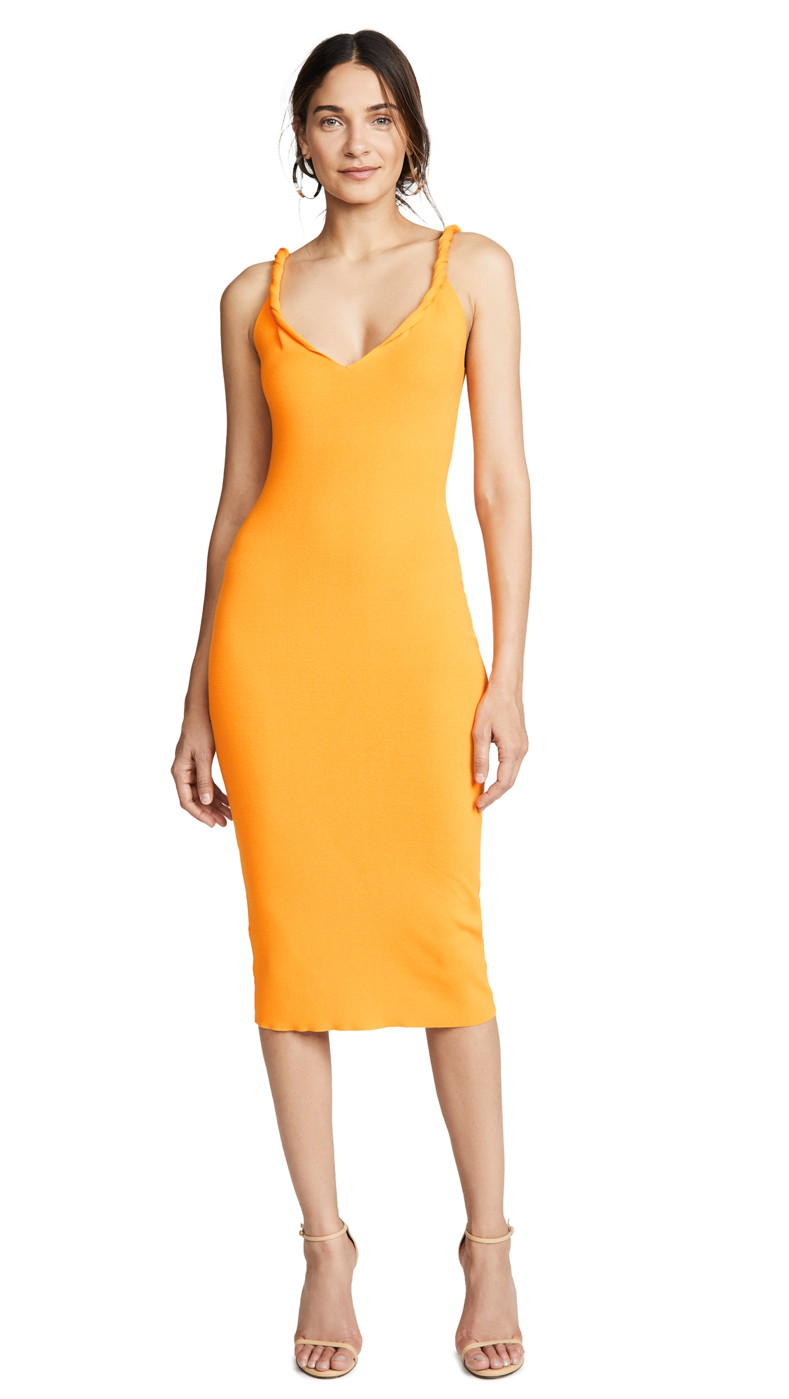 Dion Lee Rib Twist Shoulder Dress In Marigold