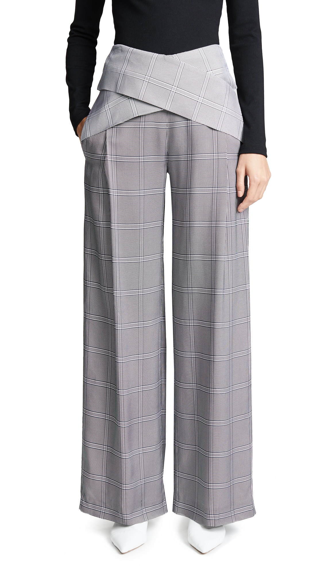 DION LEE Wide-Leg Check-Print Viscose Pants W/ Crisscross Waist in Navy Check