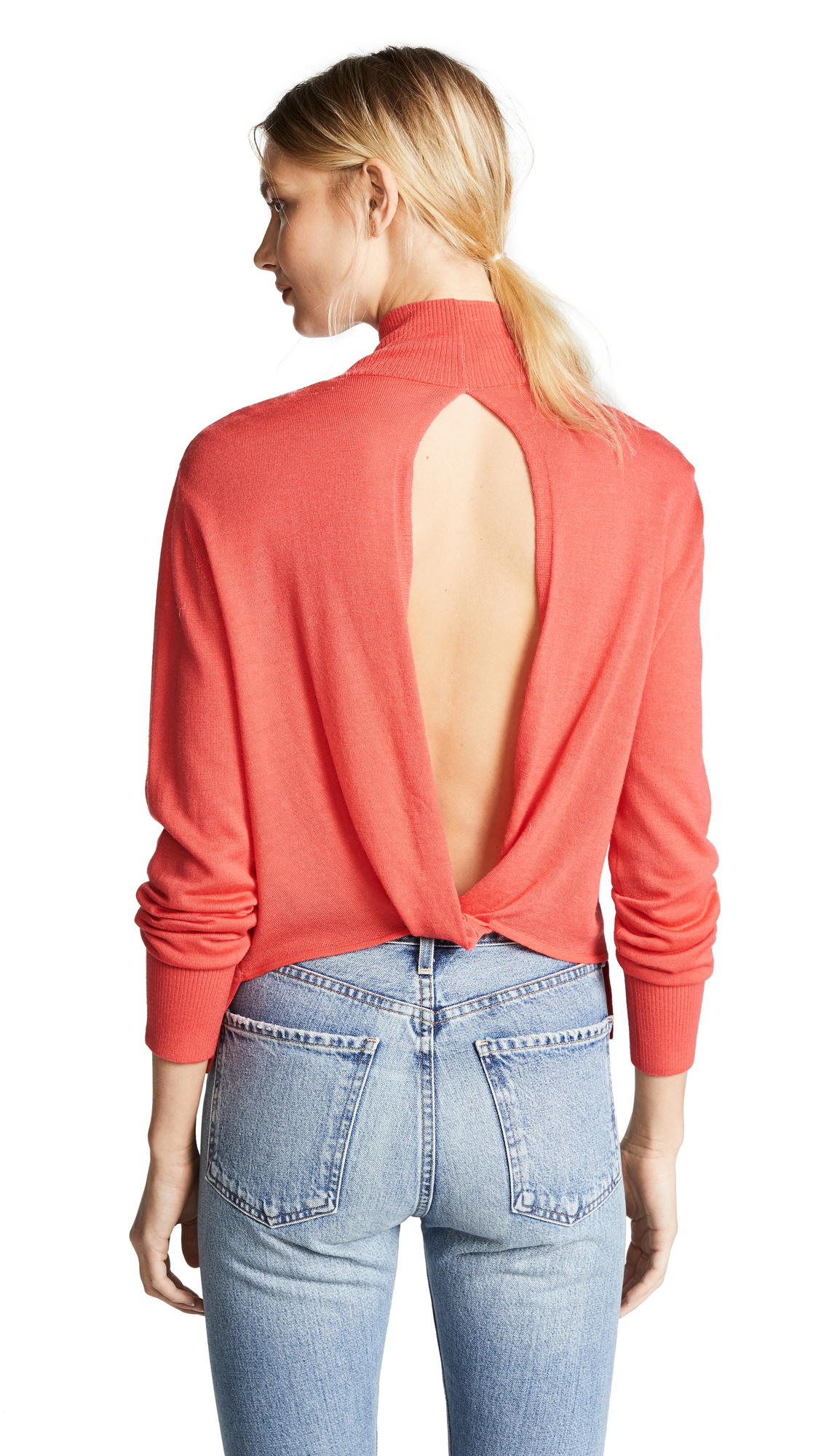 Dion Lee Loop Back Turtleneck - Coral