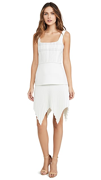 Dion Lee Bonded Crepe Ellipse Pleat Mini Dress