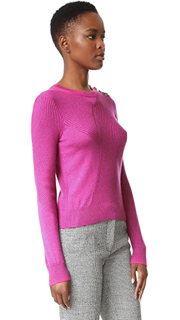 Derek Lam Cable Sweater with Button Detail