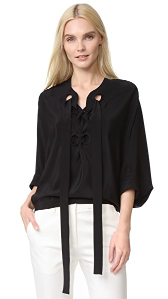 Derek Lam Lace Up Drawstring Blouse
