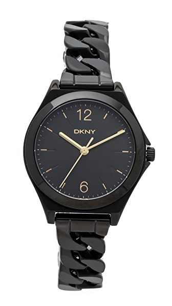 Dkny Parsons Three Hand Stainless Steel Watch - Black at Shopbop