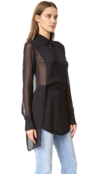 Dkny Collared Half Button Shirt With Sheer Back - Black at Shopbop