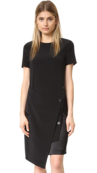 Dkny Dress With Front Wrap - Black/Scarlet at Shopbop