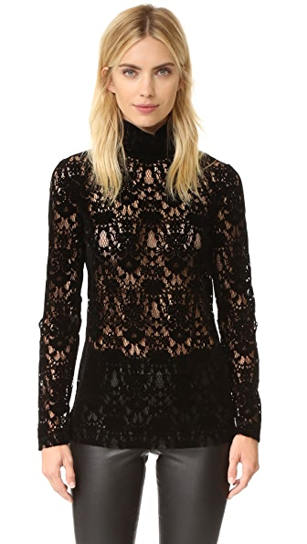 Dkny Velvet Lace Turtleneck - Black at Shopbop