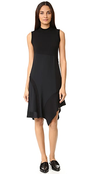 Dkny Mock Neck Asymmetrical Dress - Black at Shopbop