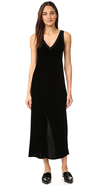 Dkny V Neck Slip Dress With Back Slit - Black at Shopbop