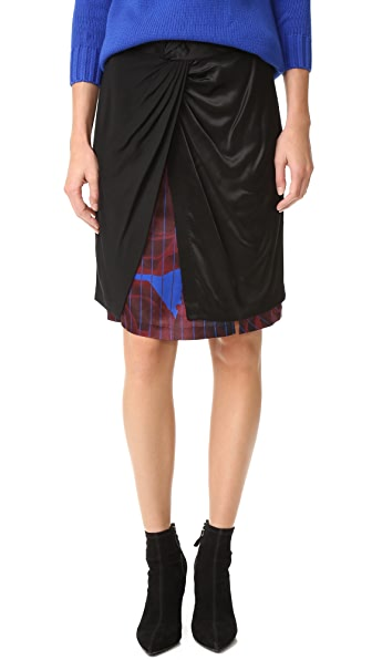 DKNY Mixed Media Skirt with Front Knot at Shopbop