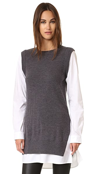 Dkny Pure Dkny Poplin Sleeve Tunic Sweater - Charcoal Heather/White at Shopbop