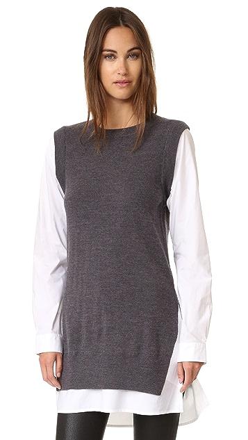 DKNY Pure DKNY Poplin Sleeve Tunic Sweater