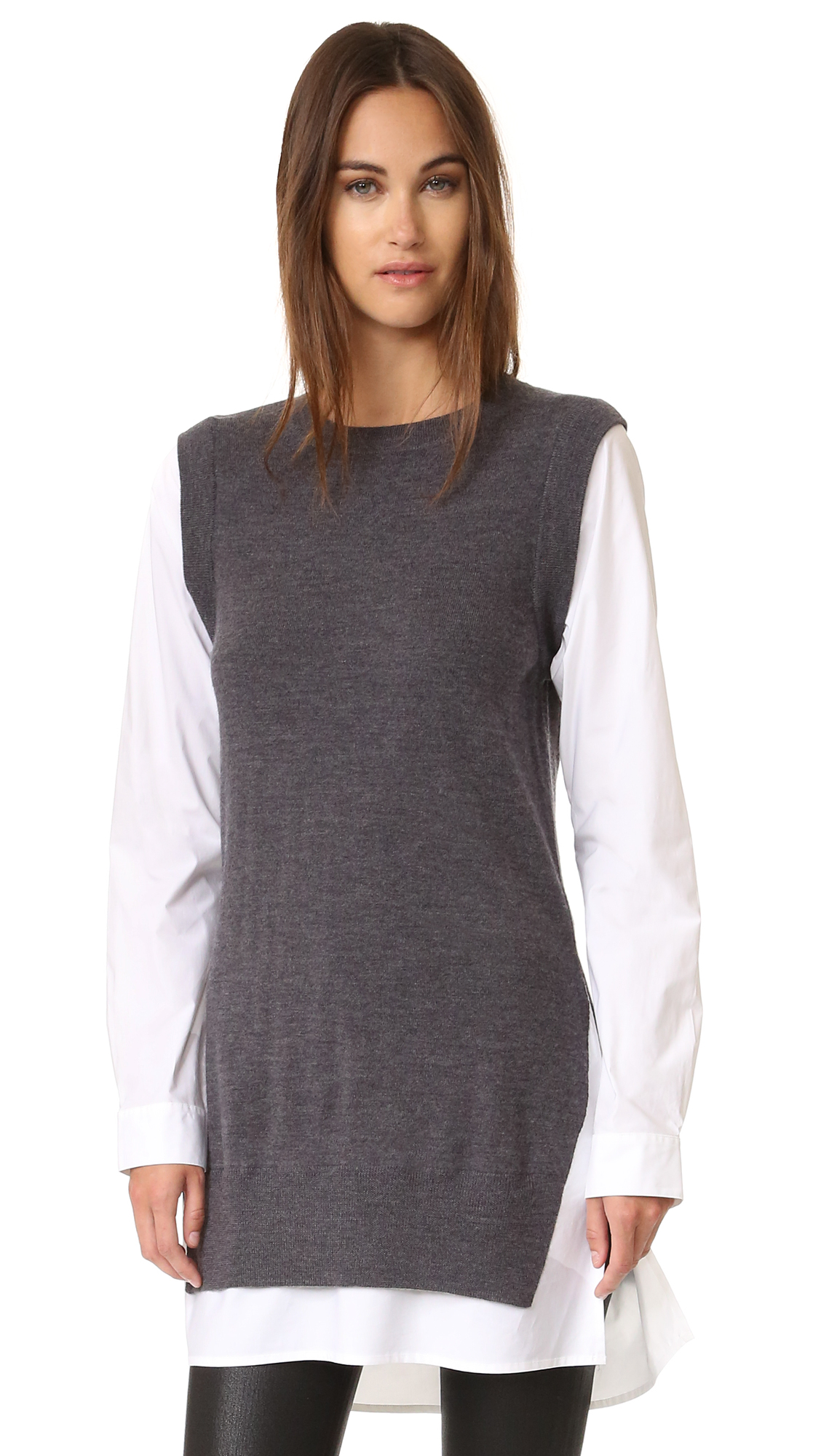 DKNY Pure DKNY Poplin Sleeve Tunic Sweater | SHOPBOP