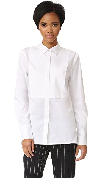Рубашка с длинными рукавами Pure DKNY в стиле смокинга