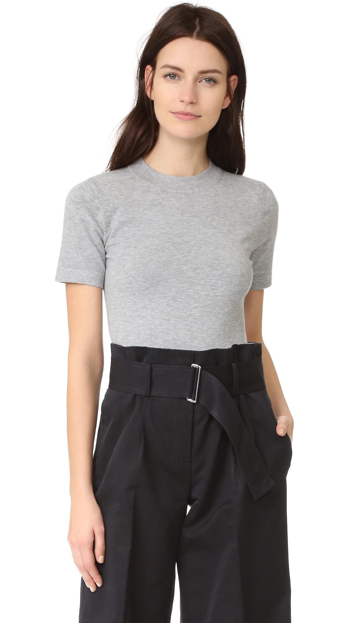 Dkny Short Sleeve Crew Neck Bodysuit - Heather Grey at Shopbop