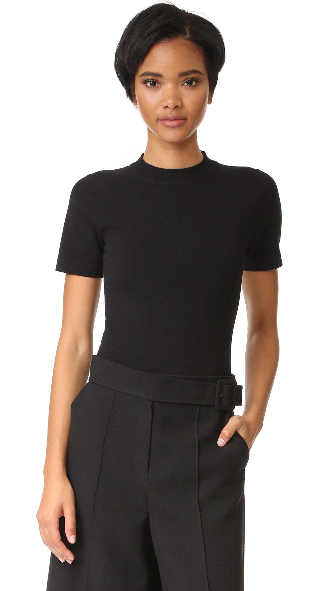 Dkny Short Sleeve Crew Neck Bodysuit - Black at Shopbop