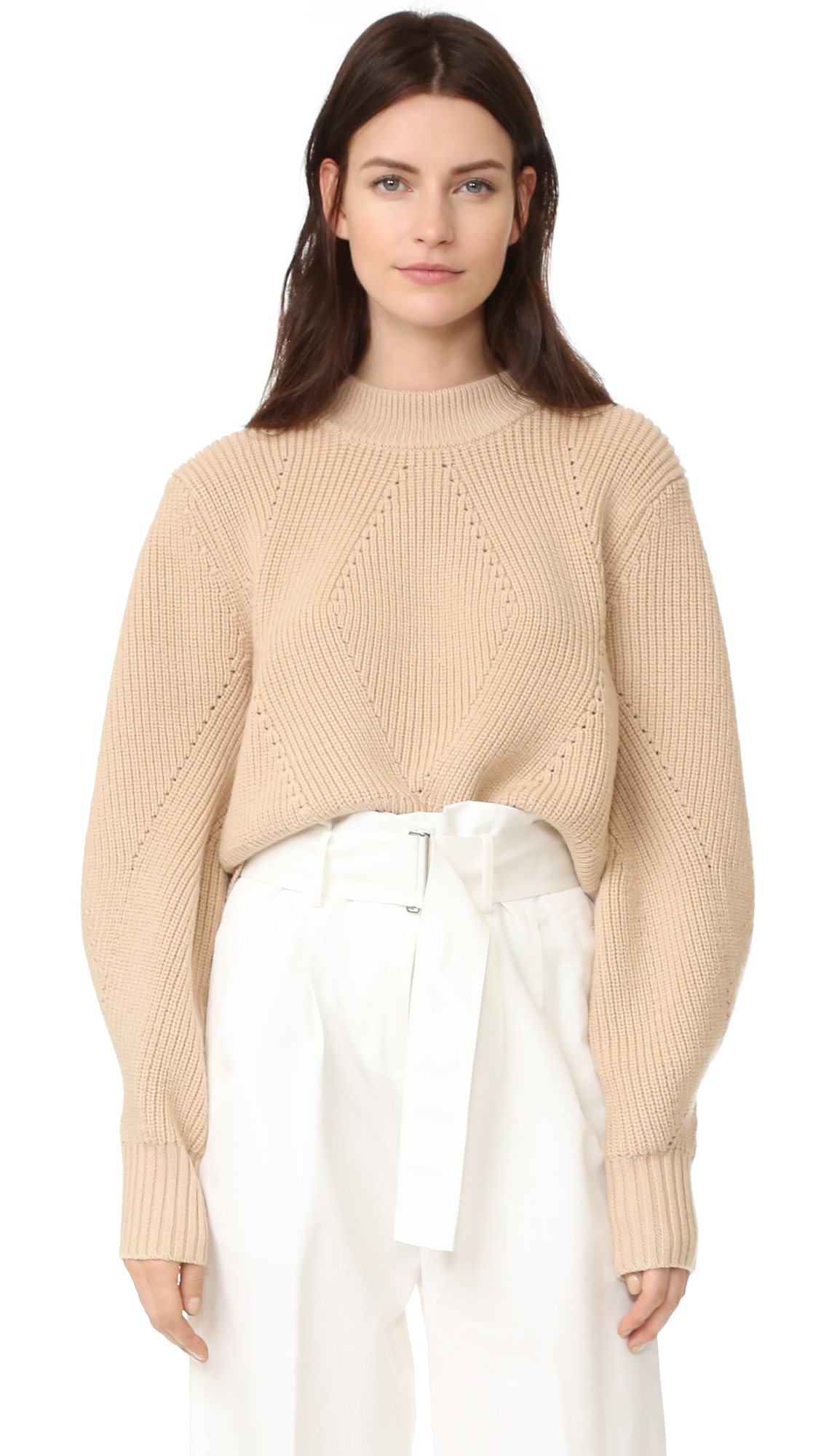 Dkny Extra Long Sleeve Pullover With Back Opening - Nude at Shopbop