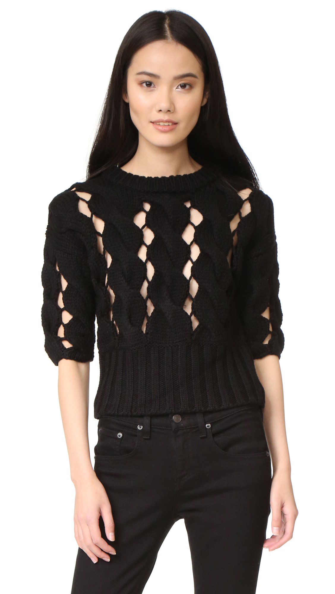 Dkny Cropped Sweater - Black at Shopbop