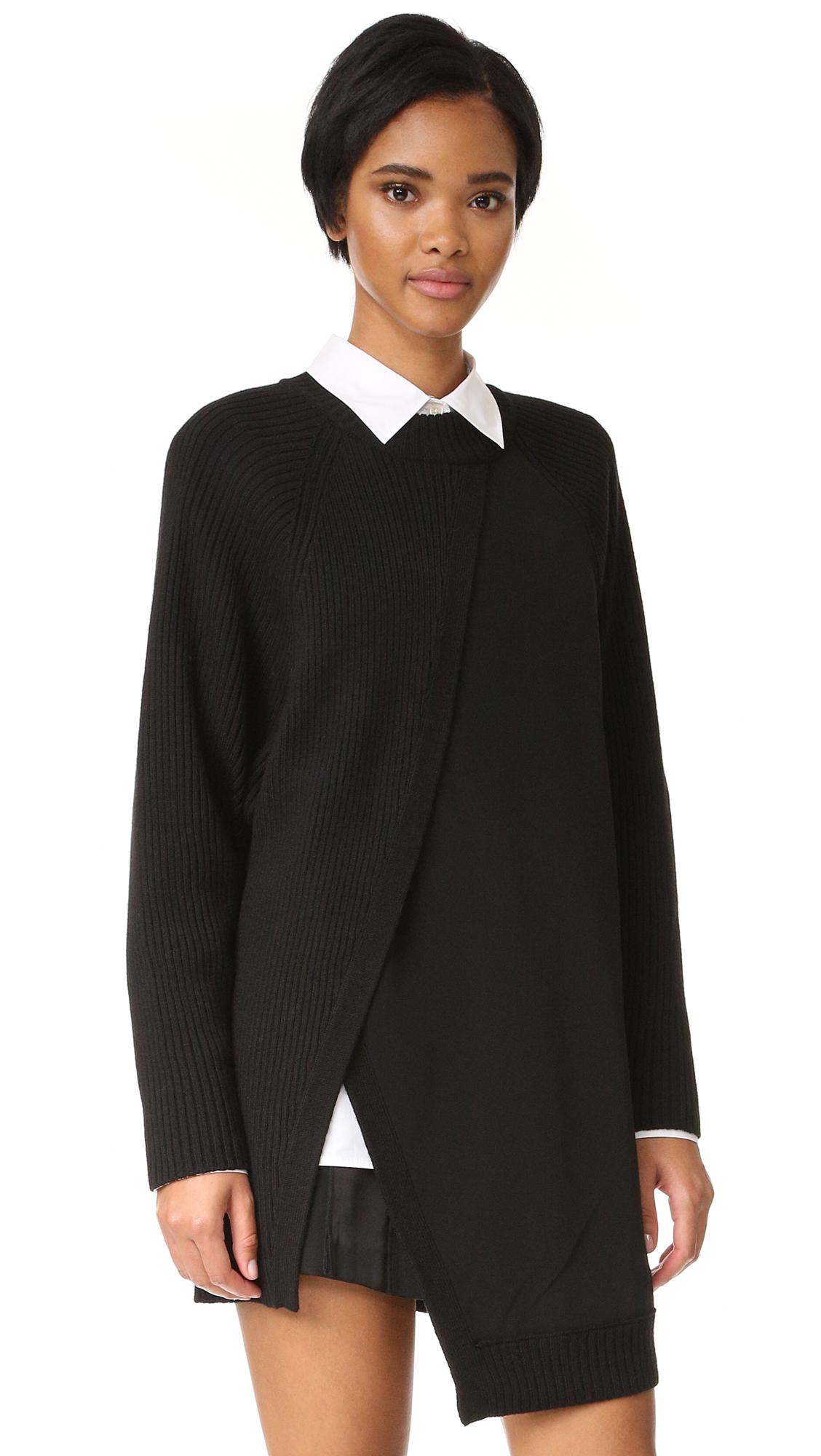 Dkny Crew Neck Rib Tunic With Combo Panel - Black at Shopbop