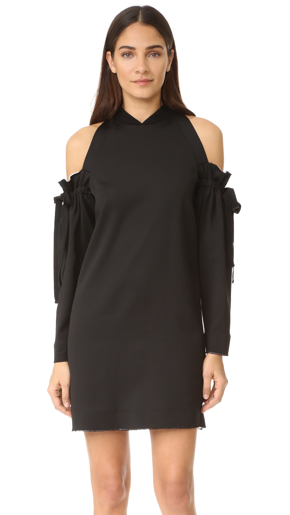 Dkny Cold Shoulder Dress With Raw Edges - Black/White at Shopbop