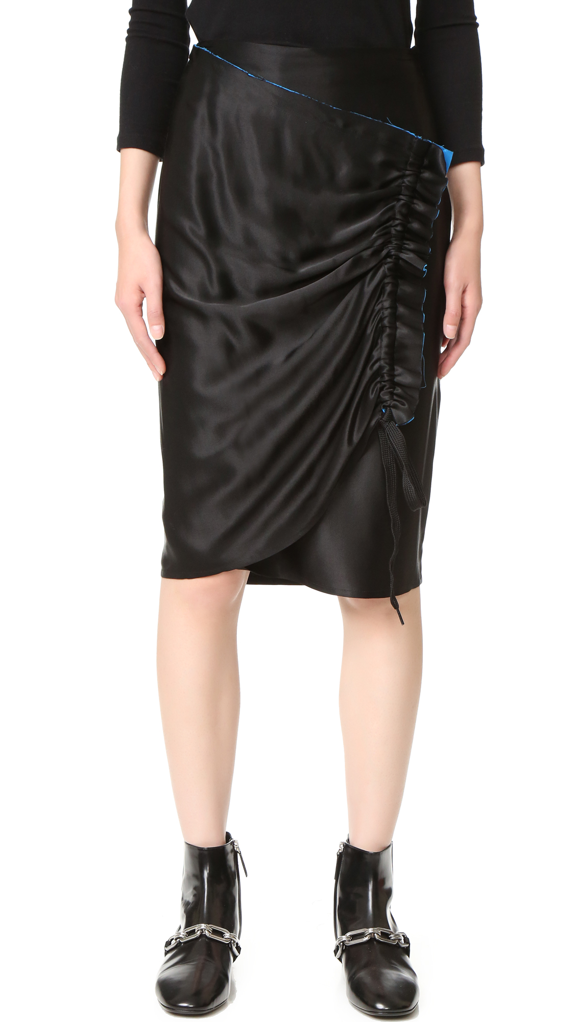 Dkny Wrap Skirt With Contrast Trim - Black at Shopbop