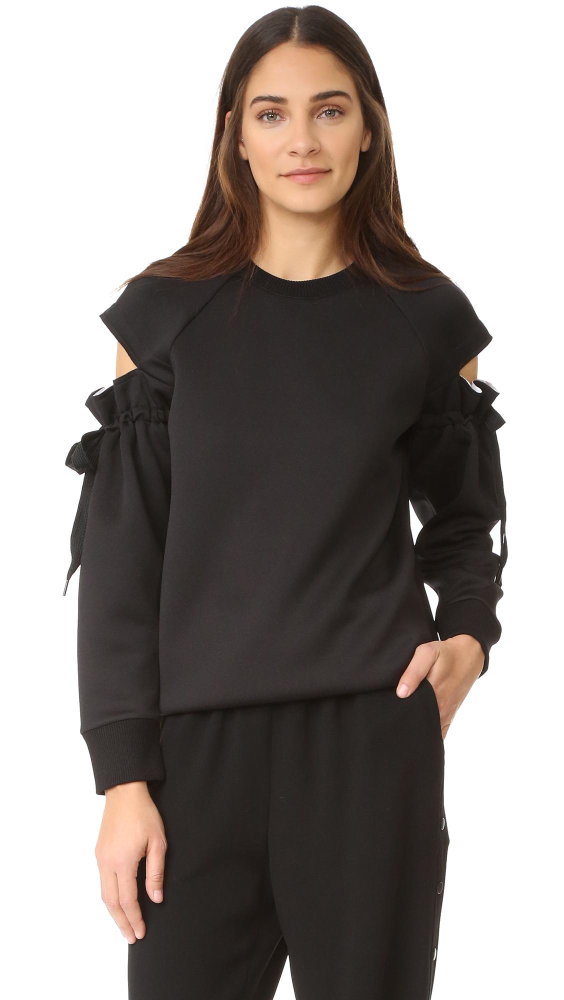 Dkny Top With Drawsting Sleeves - Black at Shopbop